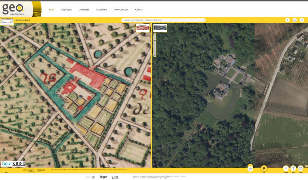 Geopunt Vlaanderen: split screen Ferrariskaarten - kasteel Buggenhout